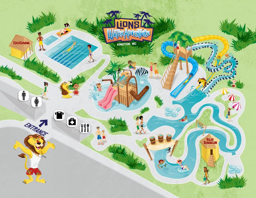 Graphic map of Lions Water Adventure