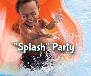 Splash Party pacakage with young child coming down water slide