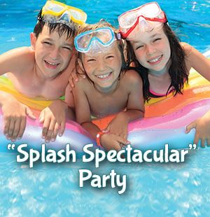 Splash Spectacular Party package with three children on flotation device